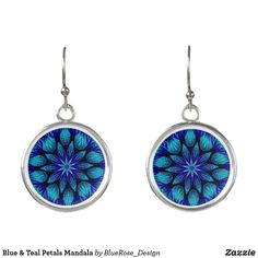 Blue & Teal Petals Mandala Earrings Purple Teal, Blue, Christmas Card Holders, Colorful Backgrounds, Crochet Earrings, Mandala, Perfume, Drop Earrings, Silver