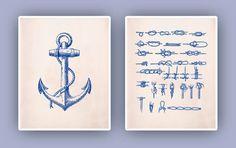 Nautical art Nautical Prints sailor knots art anchor print