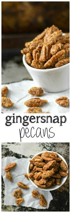 Gingersnap Pecans ~ These crispy pecans are coated in brown sugar, and the spices of a gingersnap cookie! Ginger, cinnamon, cloves, and a touch of molasses! These gluten-free pecans will make you think you are eating your favorite gingersnap cookies! Pecan Recipes, Snack Recipes, Cooking Recipes, Tapas Recipes, Party Recipes, Fudge, My Burger, Spiced Nuts, Ginger Snap Cookies