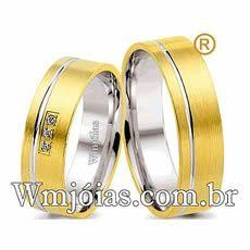 Alianças Anatômicas de Noivado e Casamento, em Ouro 18k e Prata, 12g o Par e 6mm - WM2591