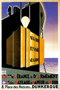 Dunkerque vintage poster reproduction shipping line