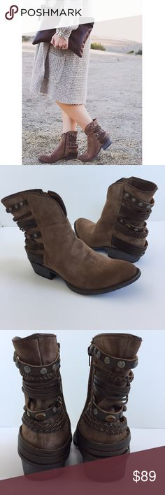 Free People Boots Beautiful gypsy boots! Unleash your inner boho babe with these. Brown faux suede with braided leather and amber embellishments on the back. Pointed toe, heel measures just under 1.5 inches. All man made materials. Size 8, fits true to size. Never worn, in great condition! Brand is Coconuts by Matisse, sold at Free People   🚫No trades 🚫No modeling 🚫No 🅿️aypal 🚫No Merc ✅Posh Rules ✅Use Offer Button ✅Bundle for 15% off Free People Shoes
