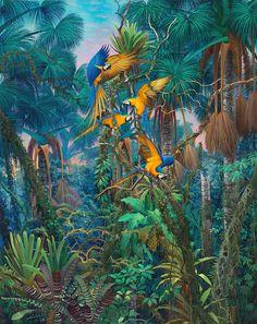 Rainforest by Anderson Debernard Jungle Art, Haitian Art, Tropical Art, Tropical Forest, Forest Art, Botanical Illustration, Botanical Prints, Fantasy Art, Wall Art