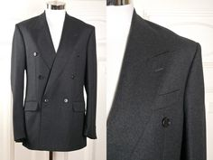 Double-Breasted Gray Blazer, Austrian Vintage Charcoal Gray Wool Jacket w Peak Lapels, European Gray Sports Coat: Size Medium, 38 US/UK by YouLookAmazing on Etsy