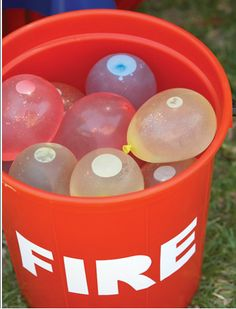 Water Balloon fight for a hot summer party Party Frosting: Fireman/Firetruck Birthday Party Ideas & Inspiration Fireman Birthday, Fireman Party, Fireman Sam, Paw Patrol Party, Paw Patrol Birthday, Birthday Party Games, 4th Birthday Parties, 3rd Birthday, Birthday Ideas