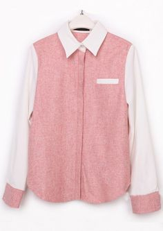 Pink Lapel Long Sleeve Buttons Pocket Blouse
