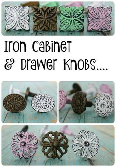 Cast iron cabinet and drawer knobs are a great and inexpensive way to add color and a rustic charm to your furniture. Cast iron cabinet and drawer knobs are a great and inexpensive way to add color and a rustic charm to your furniture. Shabby Chic Apartment, Shabby Chic Homes, Shabby Chic Decor, Shabby Chic Knobs, Dresser Handles, Cabinet And Drawer Knobs, Drawer Pulls, Kitchen Cabinet Knobs, Shabby Chic Furniture