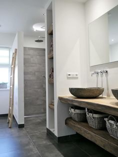 Bathroom rural with solid oak leaf and river stone washbasins. The faucets are . - Bathroom rural with solid oak leaf and river stone washbasins. The taps are of hotbath type chap - Kid Bathroom Decor, Simple Bathroom, Bathroom Interior, Modern Bathroom, Kitchen Interior, Kitchen Design, Bad Inspiration, Bathroom Inspiration, Bathroom Flooring
