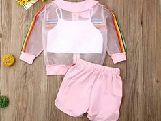Crop Top Outfits, Kids Outfits Girls, Girls Fashion Clothes, Cute Outfits For Kids, Teenager Outfits, Teen Fashion Outfits, Baby Girl Fashion, Cute Casual Outfits, Short Outfits