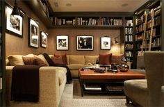 Dark Transitional Living & Family Room by Kenneth Brown on HomePortfolio