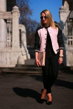 pants - Zara / top - Mango / college jacket, earrings & bracelets - Forever 21 / clutch - from Rhodes / sunglasses - Zalando / flats - Deichmann Zara Tops, Jacket Earrings, College, July 31, Flats, Rhodes, Sunglasses, Pink Black, Casual