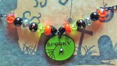 """15% Off!  Spooky Halloween OFC Halloween Necklace!  Enameled """"Spooky"""" Pendant Dangles from a Beaded Necklace & Chain! by SerendipitysRarities on Etsy"""
