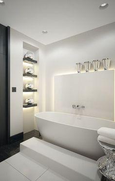 KELLY HOPPEN A major name in the world of interior design! Kelly Hoppen's talent keeps mesmerizing us. Contemporary Bathrooms, Modern Bathroom, Small Bathroom, Bad Inspiration, Bathroom Inspiration, Kelly Hoppen Interiors, Best Bathtubs, Beautiful Bathrooms, Bathroom Interior