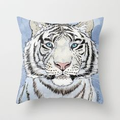 White Tiger in blue Throw Pillow by S-Schukina - $20.00
