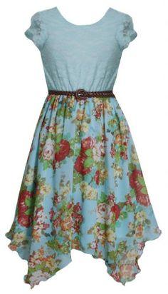 Aqua-Blue Belted Lace to Floral Chiffon Hanky Hem Dress AQ4MS, Aqua, Bonnie Jean Tween Girls 7-16 Bonnie Jean,http://www.amazon.com/dp/B00IB1BLVW/ref=cm_sw_r_pi_dp_baL9sb0J6H7VV1MH