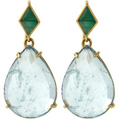 Nak Armstrong Gold Aquamarine and Emerald Teardrop Earrings ($3,145) ❤ liked on Polyvore featuring jewelry, earrings, 18k earrings, yellow gold earrings, gold hook earrings, gold jewellery and 18 karat gold earrings