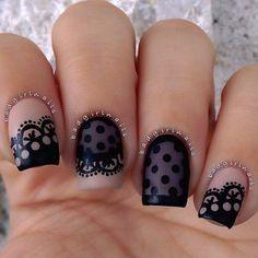 lace and polka dot nail design