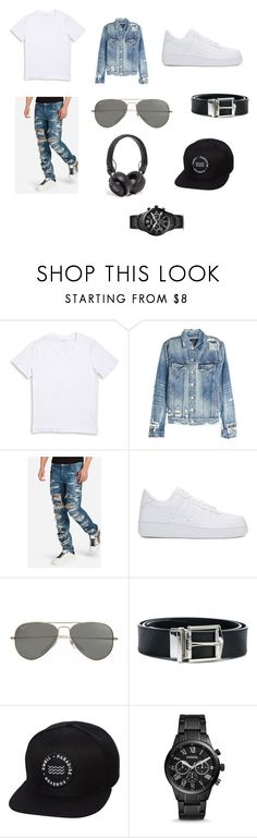 """""""Men's outfit"""" by nat-napo on Polyvore featuring 1670 HBC, AMIRI, Dolce&Gabbana, NIKE, Parasol, Burberry, Swell, FOSSIL, Master & Dynamic and men's fashion"""