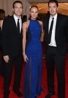 David Neville & Marcus Wainwright with Candice Swanepoel in a custom rag & bone gown at the #METgala