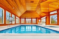 Indoor pool offers lovely views of the scenic landscape outside