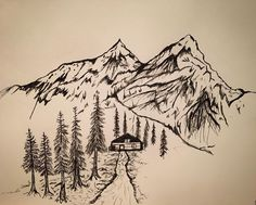 On instagram by mine__eye #landscape #contratahotel (o) http://ift.tt/1QZnL7S House in the mountains - snow capped freedom. I enjoyed doing this sketch because I wanted to try various techniques for making trees. With experimenting I've been able to create something I like looking at. It's all a learning process. What do you think? Honestly I like the juxtaposition and the lack of asymmetry. Expect the unexpected.  #art #artists #artists_magazine #art_mag #artistsofinstagram #ink #creek…