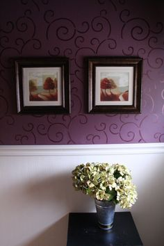Pretty in Purple, Updated a mural bathroom into a classy, sophisticated space., Used Dutch Boy Treaded Grapes as a basecoat; stencilled with a metallic paint, Bathrooms Design Purple Bathrooms, Purple Rooms, Architectural Features, House Painting, Painting Tips, Wall Colors, Paint Colors, Ceiling Design, Diy Craft Projects