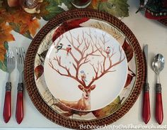 Autumn Table, Salad Plates with Deer and Birds (Pier One deer plates)