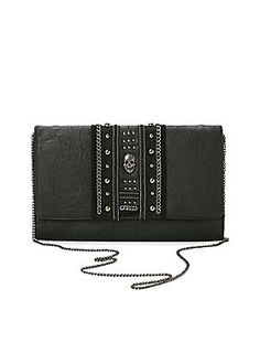 Black faux leather clutch with envelope fold design and fold-over flap<ul><li> Detachable hematite tone chainlink arm strap</li><li>Polyurethane</li><li>Imported</li></ul>