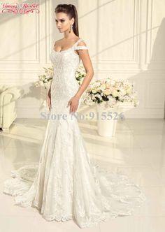 36baddd9c2bb 2015 Viman's Bridal Mermaid Lace Wedding Dress Appliques Scoop Lace Up  Floor Length Vestidos De Novia Free Shipping AX104-in Wedding Dresses from  Weddings ...