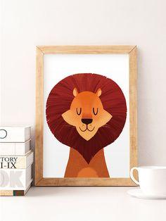Lion Wand Kunst Lion Grafik Safaritiere Tiere drucken von NorseKids