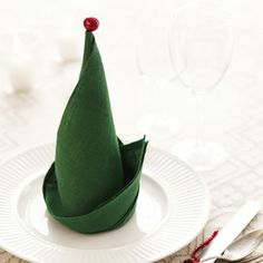elf hat napkin folding.