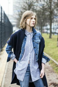 Super cool stripe work and denim mix.