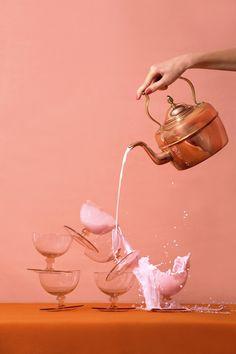 Copper kettle of pink strawberry milk + glass goblets // Aleksandra Kingo: A Heart Disease Called Love, La Monda magazine