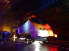 The National Railway Museums 'Locos in a different light' which is part of the Illuminating York festival. This is locomotive 373 008, a Eurostar service locomotive which has been added to the National Collection this month.