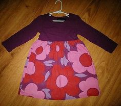 Girl's Mini Boden Purple Pink Corduroy L/S  Dress Size 3-4 Years Flower Floral