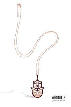Kurshuni - Mano di Fatima Collana lunga KO436-200 Gold Necklace, Pendant Necklace, Jewelry, Gold Pendant Necklace, Jewlery, Bijoux, Jewerly, Jewelery, Drop Necklace