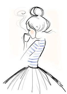 Mondaycoffee, Monday, Coffee, Kera Till, Illustration - l*art - Zeichnung Pencil Art Drawings, Doodle Drawings, Art Drawings Sketches, Cute Drawings, Simple Drawings, Girl Drawings, Pretty Easy Drawings, Simple Designs To Draw, Pencil Sketches Of Girls