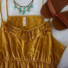 Mustard yellow maxi dress crochet lace trim detail Beautiful mustard yellow maxi dress, size large. Dresses Maxi