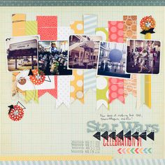 Love the colorful pp banners backing the  square pictures -- really fun design. | By Melissa Stinson