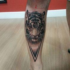 Black and Grey Tiger Tattoo by Igor Pereira