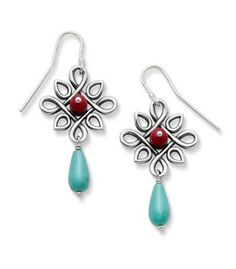 Radiant Loops Ear Hooks with Red Art Glass & Turquoise | James Avery