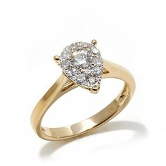 Diamond Couture 14K Gold .50ct Diamond Pear Ring