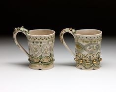 "Claire Prenton, ""Honey Cups,"" porcelain, 20kt gold luster - Sherrie Gallerie"