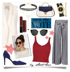 """Just Vote"" by start-over ❤ liked on Polyvore featuring Aspinal of London, Nine West, Reiss, Lanvin, RetroSuperFuture and rockthevote"