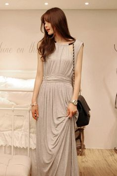 Korean Grey Long Casual Dress  Sexy, casual, party, korean fashion dresses. Shop online at: http://www.clothingcandy.com