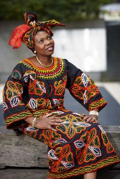 Mimmie Ngum Chi in traditional Cameroonian dress.  Image:  Benjamin Healley   Source: Museum Victoria