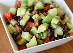 black bean, avocado, cucumber and tomato salad – low-cal salad idea