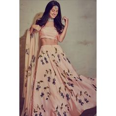 Peach italian silk printed lehenga choli Hot Girls, Bollywood, Two Piece Skirt Set, Skirts, Pink, Instagram, Dresses, Fashion, Bebe