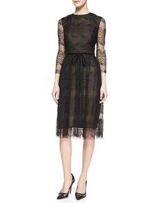 Lace Dress With Belt by Monique Lhuillier at Neiman Marcus.