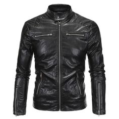 Selling 2016 new men's clothing collar leather jacket zipper placket fashion trend England style Size: M-5XL #Affiliate